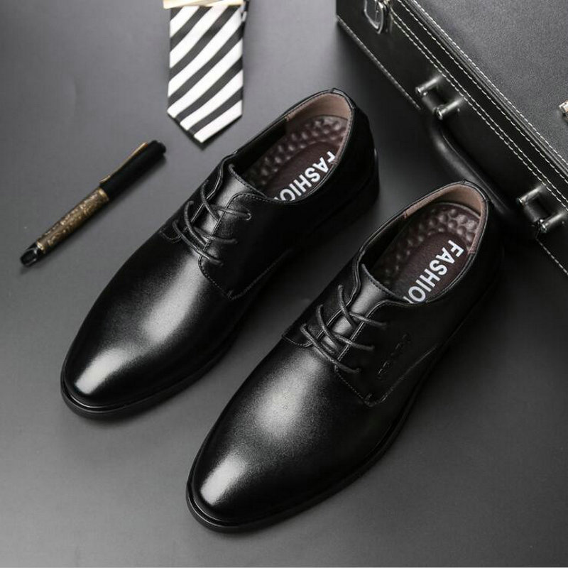 2018 Men business Shoes Genuine Leather Lace up formal dress flats Italian Oxford Man Flat Classic office footwear shoes LD 100