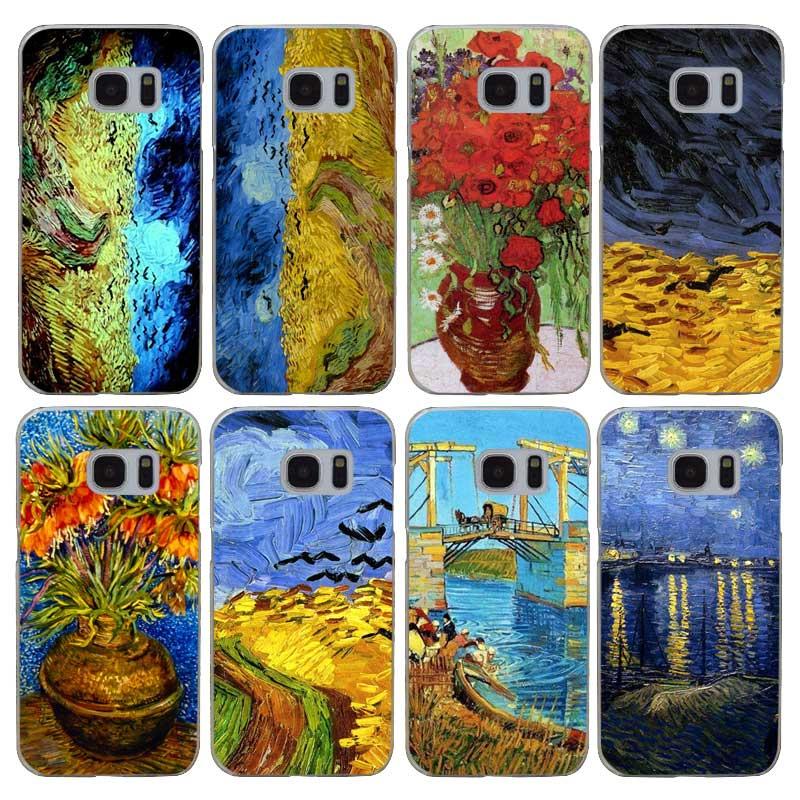 H343 Van Gogh Tardis Transparent Harte PC Kasten-abdeckung Für Samsung Galaxy S...