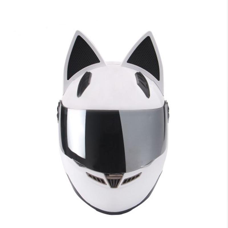 NITRINOS бренд Для мужчин Для женщин Личность кошка шлем мотоциклетный шлем Capacete де Moto точка Белый анфас Гонки шлем
