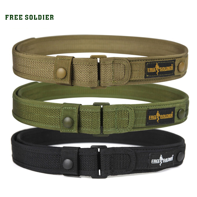 FREE SOLDIER Outdoor Sport tactical military belt for camping hiking climbing,men's molle belt 1.5 inches nylon belt aotu outdoor camping portable single person nylon mesh swing hammock army green