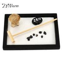 KiWarm Mini Zen Garden Office Gift Decor Feng Shui Rake Pebble Sand Peace Tabletop Ornaments 15cm