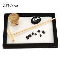 KiWarm Mini Zen Garden Office Gift Decor Feng Shui Rake Pebble Sand Peace Tabletop Ornaments 15cm