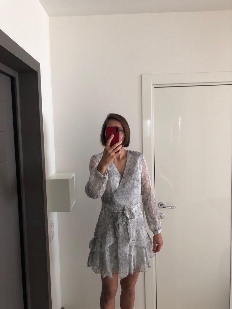 Long Sleeve Chiffon Women Dress Feminino Party Ruffle Dress Elegant Casual Vintage Autumn Winter Pink Dresses Vestidos photo review
