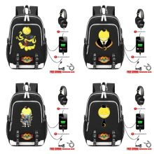 anime Ansatsu Kyoushitsu Backpack with USB Charging Headphone interface Teenagers Student book bag Men Women Casual travel bag(China)