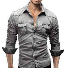 Fashion Cool Long Sleeve Slim Fit Turn Down Collar Denim Shirt Casual Men s Top
