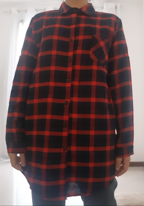 Cotton Women Blouse Shirt Plaid Loose Casual Plaid Long Sleeve Large Size Top Womens Blouses Red/Green photo review