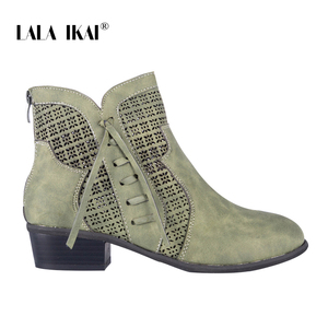 Image 4 - LALA IKAI Women Autumn Winter Ankle Boots Lace up Hollow Waterproof Shoes Pu leather Female Zipper Fringe Chelsea Boots WC4747 4
