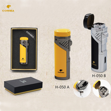 Windproof  3 Torch Jet Flame Butane Gas Cigarette Cigar Lighter Zinc Alloy Refillable with cigar punch NO Gas  with Gift Box multifunction zinc alloy butane gas screwdriver lighter red yellow