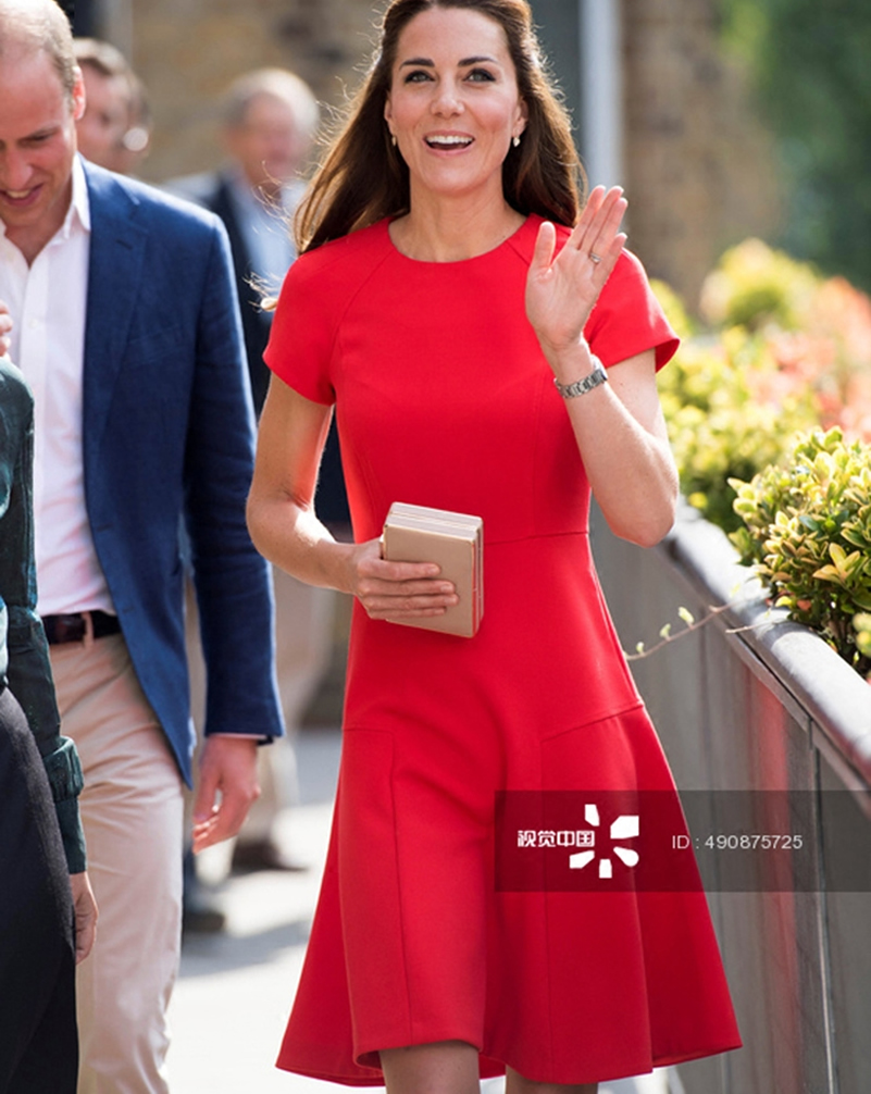 Middleton cou Manches Solides Robe À Femmes Courtes O Robes New Rouge Kate Princesse 2018 TFxwHEqF
