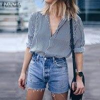 ZANZEA Women Tops 2018 Autumn Vintage Striped Blouses Shirts Casual Loose V Neck Long Sleeve Plus