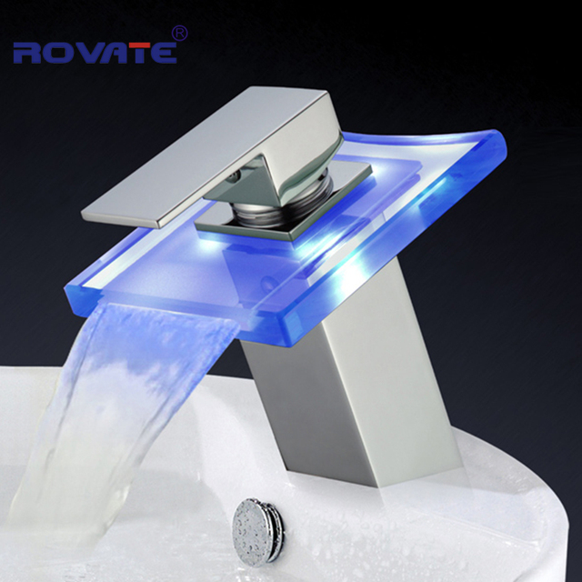 Luxury Glass Waterfall Basin Faucet Bathroom Battery LED Color ...