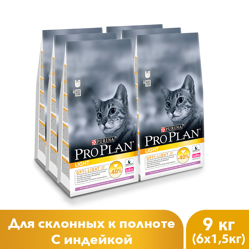 Dry Pro Plan food for cats with overweight and cats prone to fattening, with turkey, 9 kg.