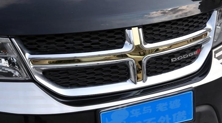 TEAEGG Golden steel front grille vent hole frame trim cover for 2013 2014 Dodge Journey
