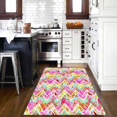 Else Abstract Pink Green Yellow Lines Geometric Watercolor 3d Print Non Slip Microfiber Kitchen Modern Decorative  Area Rug Mat