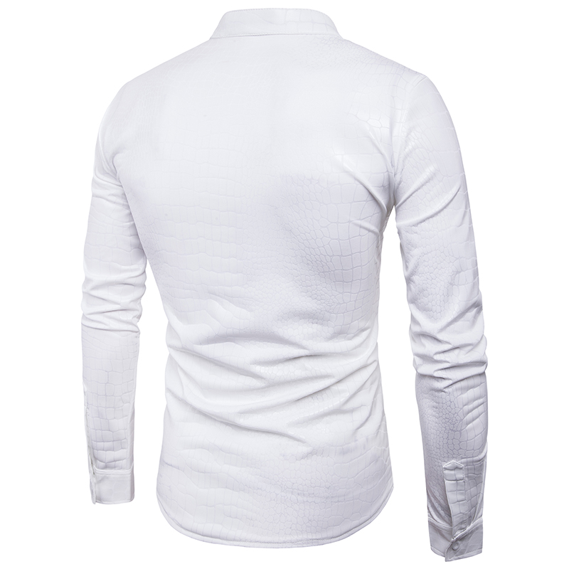 PADEGAO men PVC leather blouse long sleeve Metallic Shiny top Shirt Punk style clubwear Slim camisa masculina chemise homme 2XL in Casual Shirts from Men 39 s Clothing