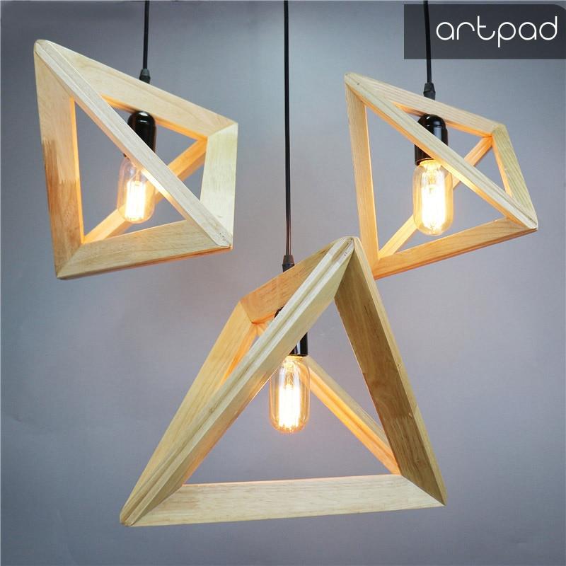 E27 European Minimalist Style Geometric Wood Pendant Light Vintage Industrical Kitchen Dining Room Store Hanging Lamp AC110-260V