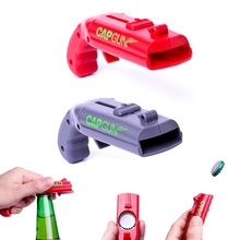 Creative Gun Shape Bottle Opener Flying Cap Zappa Beer Openers Drink Opening Cap Launcher Top Shooter Gun Kitchen Cooking Tool 2 pack cap launcher shooter bottle opener plastic beer openers for home bar party drinking game shoots over 5 meters red and