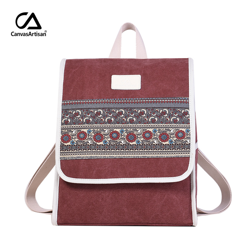 Canvasartisan Women Canvas Backpack Retro Style College Bookbag Female Laptop Backpacks Floral Printed Travel Daypack Bags