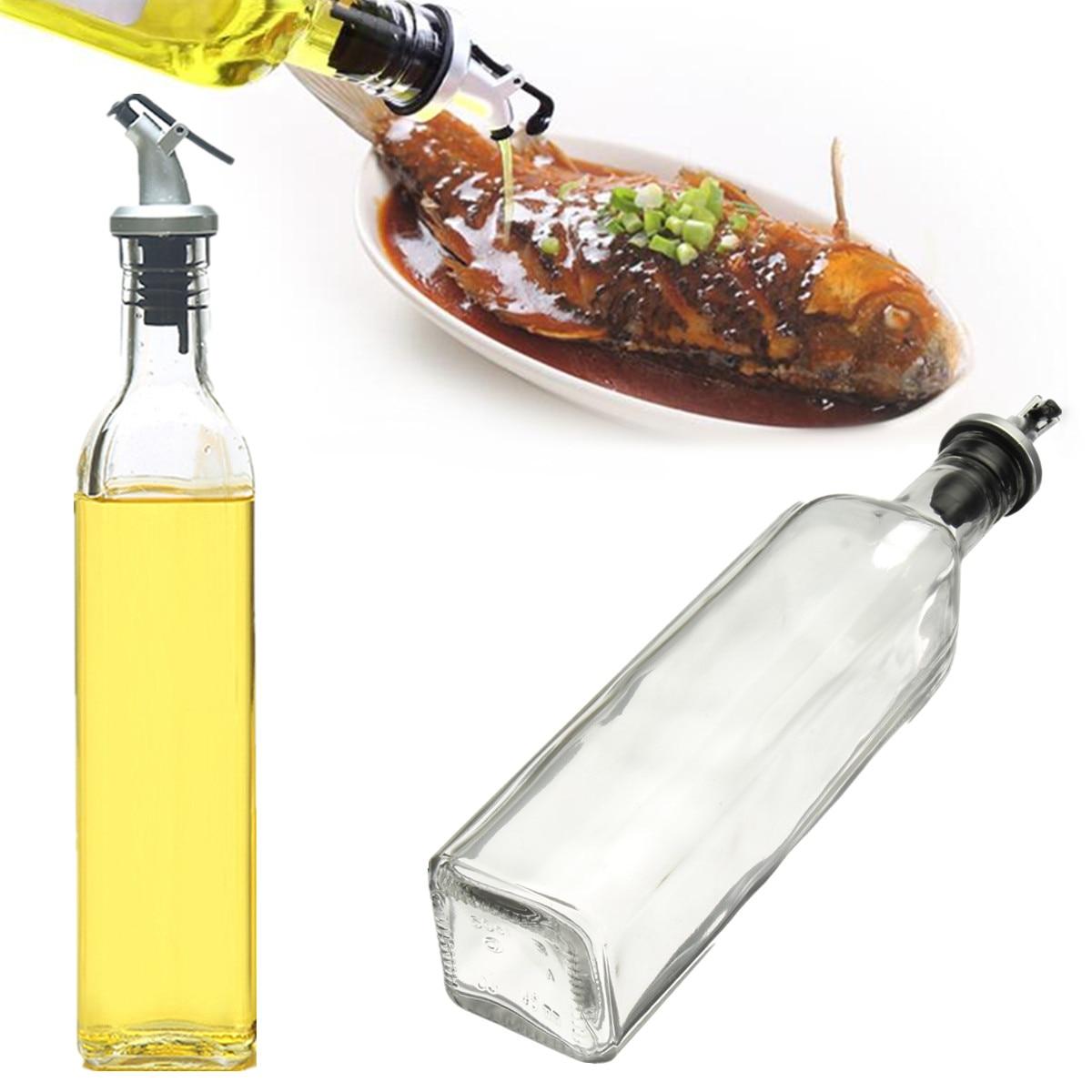500ml Glass Olive Oil Vinegar Dispenser Gravy Boat Pourer Cooking ...