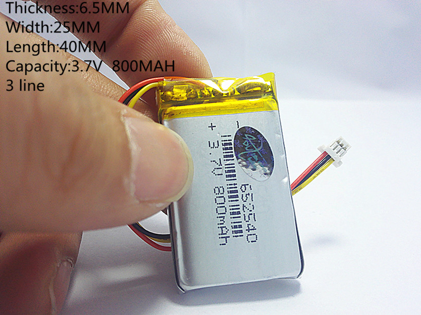 3 line small capacity rechargeable li-ion batteries 3.7v 800mah <font><b>652540</b></font> for toys LJ image