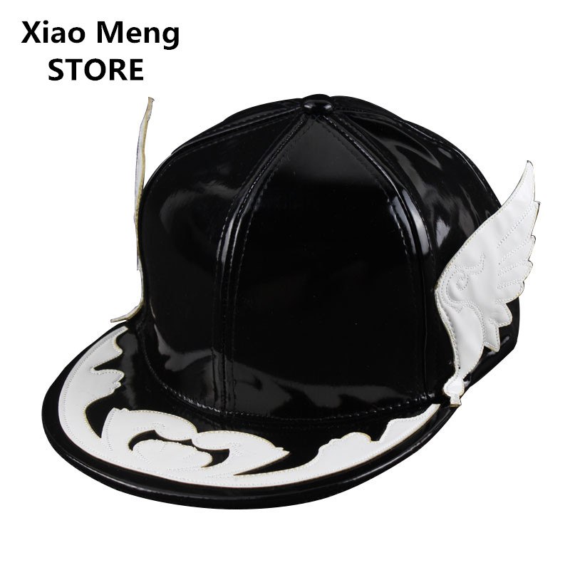 2017 New High Quality Angelic Wing Baseball Caps For Men Women Black White Devil Wing Snapback Hats PU Leather Hip Hop Cap M105 high quality baseball cap unisex sports leisure hats letter embroidery sport cap for men and women hip hop hats casquette
