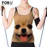 FORUDESIGNS Women Summer Tank Tops Cute Animal Dog Print Bodybuilding Crop Top Fashion Breathable Female Short
