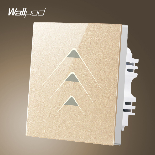Smart House Wallpad 3 Gang 2 Way Luxury Gold Crystal Glass Intelligent Touch Switch Wall Panel Free Shipping smart home us au wall touch switch white crystal glass panel 1 gang 1 way power light wall touch switch used for led waterproof