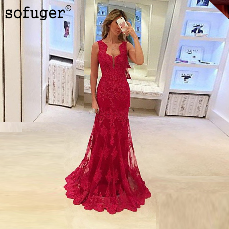 2019 New Elegant Red Appliques Lace Sleeveless Mermaid Party   Dress   Women Long   Dresses   Formal Gown   Evening     Dresses