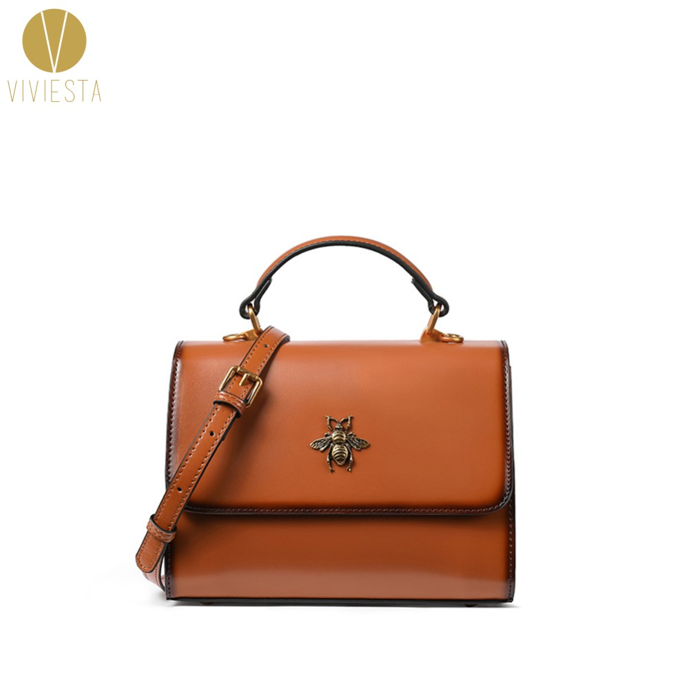 9d8e081396 BUMBLE BEE LEATHER SATCHEL BAG - Women s 2018 New Famous Brand Insect Cute Vintage  Retro Top