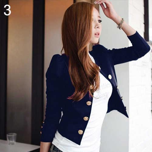 女性のファッションセクシーなダブルブレストロングスリーブショートスーツのジャケットコート生き抜く