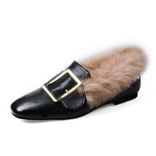 plus velvet women pom pom Female Slip on furry shoes Slipony Plush lady square   toe loafers woman warm flats Footwear black