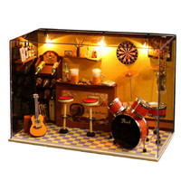 Excellent DIY Wooden Dollhouse Kit Miniature Room House Model Taproom Bar Pub+Glass Cover 8inch Ornament Craft Idea Gift