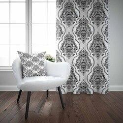 Еще Белый Черный Дамаск Османская Турецкая аутентичная 3D печать гостиная спальня оконная панель занавеска комбинированный подарок наволо...