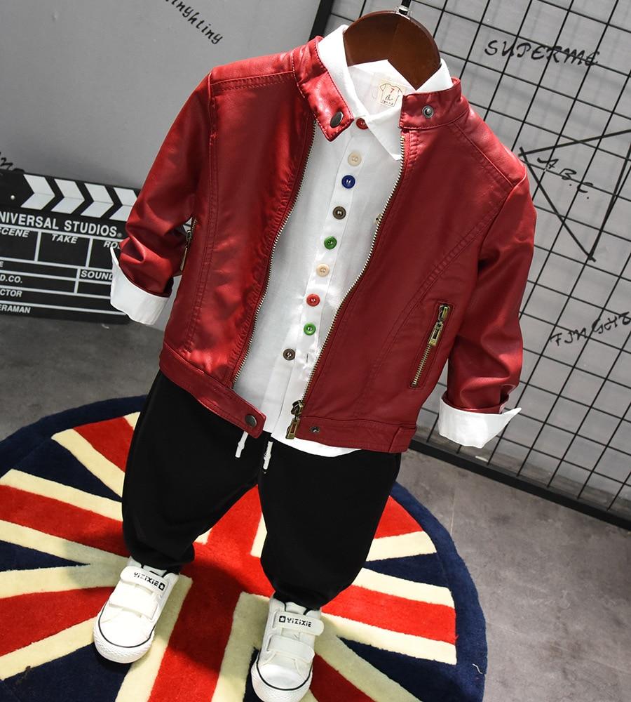 3pcs WLG boys autumn spring clothing set kids black red jacket white shirt and red black