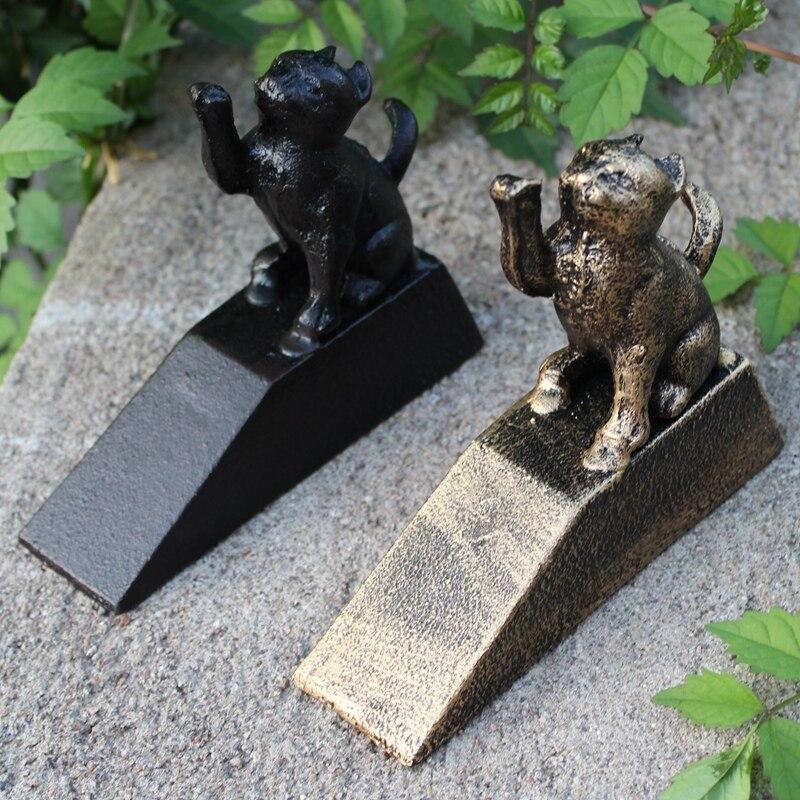 2 rustique en fonte Animal porte arrêt minable Vintage intérieur extérieur porte Wedge chat noir Bronze décoration de la maison en métal portier