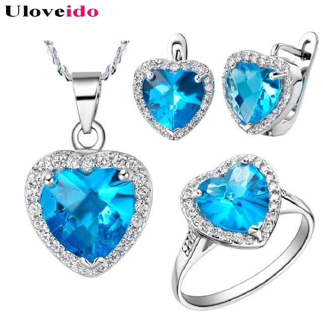 Uloveido Heart Women Jewelry Set Wedding Party Ring Pendant Necklace Earrings Set Blue Rainbow Crystal Jewelry Set Gifts T009