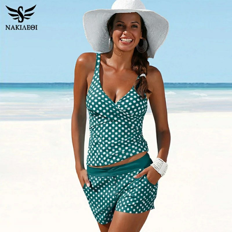 NAKIAEOI New Plus Size Swimwear Women Swimsuit Two Pieces Tankini Padded Bathing Suit Polka Dot High Waist Bikini Set Beachwear-in Body Suits from Sports & Entertainment on AliExpress