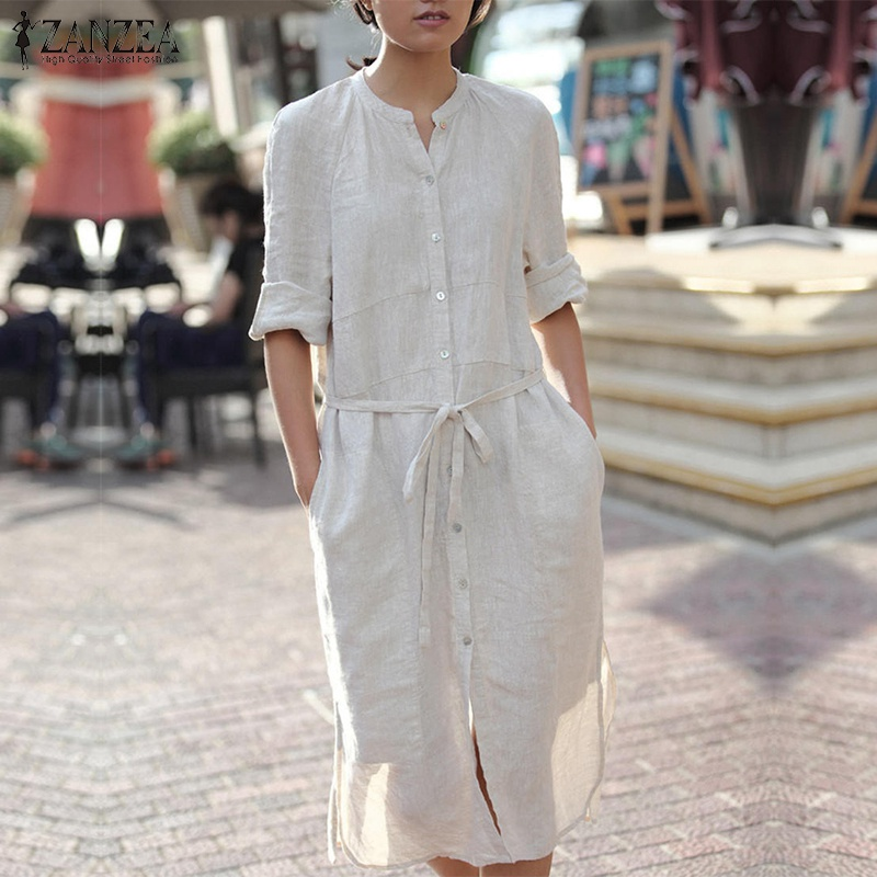 ZANZEA Women Dress 2018 Autumn Long Sleeve O Neck Vinage Cotton Dresses Sexy Elegant Ladies Casual Split Hem Solid Vestidos