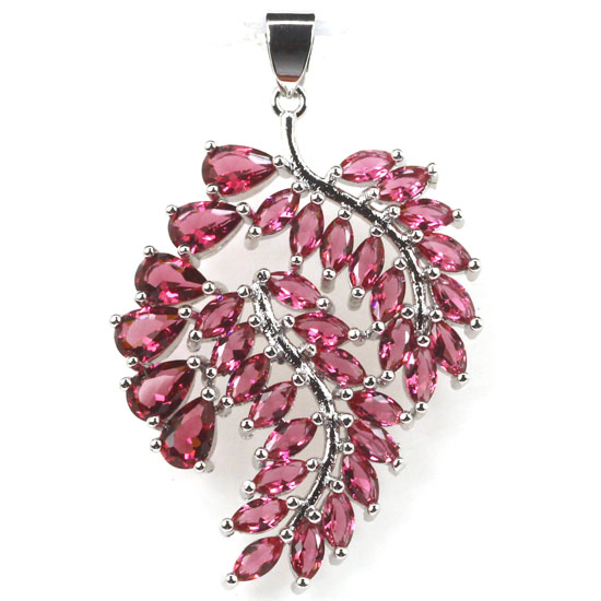 SheCrown Long Big Leaf Pink Raspberry Rhodolite Garnet Ladies Gift 925 Silver Pendant 46x28mm
