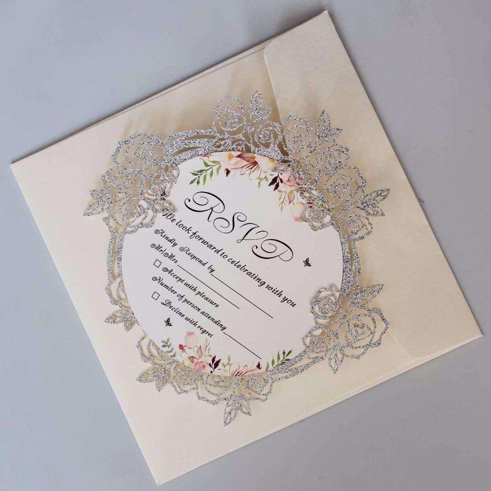 Unique Elegant Wedding Invitations: Luxury Laser Cut Wedding Invitations Elegant Rose