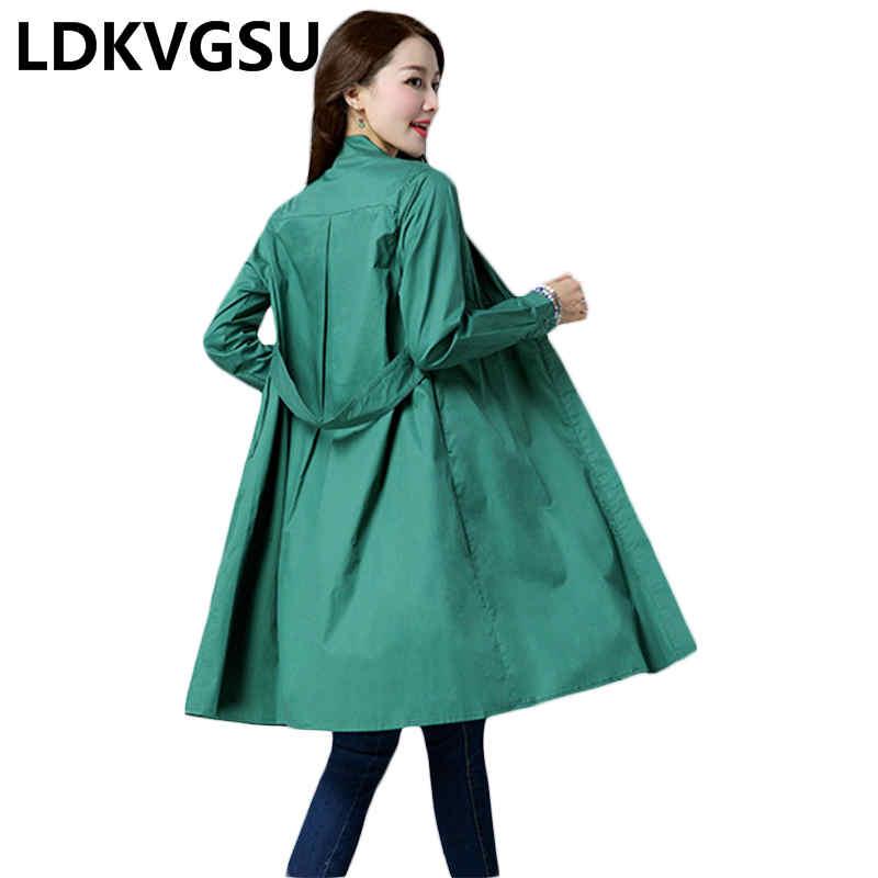 vent Green Col 2018 Manteau Coupe Tranchée Cardigan Debout kafei Coréenne Mince Femmes Outwear Is024 Section Automne Nouveau Long Colour Femelle Printemps qwwXUF4