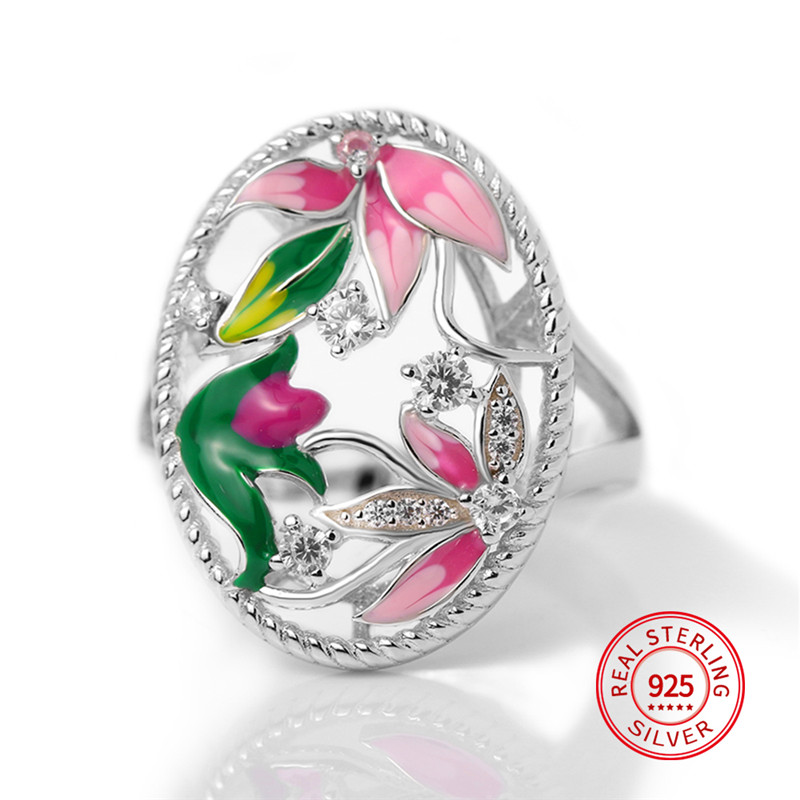 100% 925 Sterling Silver Enamel Flower Rings Women Colorful Lotus and Shiny Small Zircon Ring For Party Jewelry