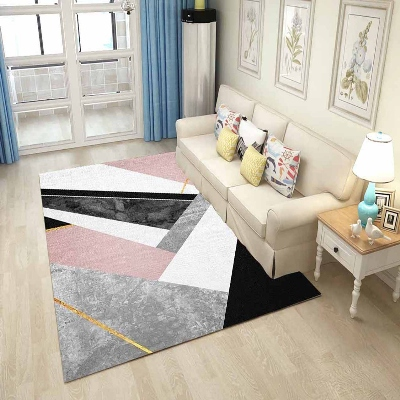 Else Gray Pink Black Vintage Patchwork Lines 3d Print Non Slip Microfiber Living Room Decorative Modern Washable Area Rug Mat