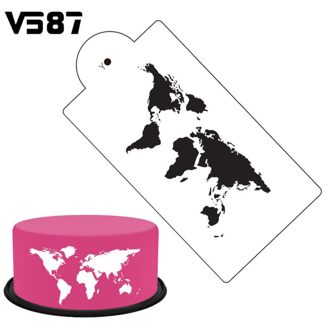 White Plastic World Map Cake Stencil Airbrush Painting Art Mold ...