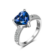 925 Silver Women Wedding Rings Luxury Titanic Type Elegant Finger Rings Big Deep Blue Stone and Shiny Zircon Ring for Women(China)