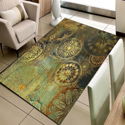 Else Vintage Green Yellow Ethnic Damask Ottoman 3d Print Non Slip Microfiber Living Room Decorative Modern Washable Area Rug Mat