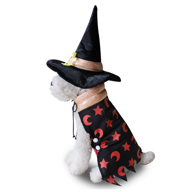 TINGHAO Dog Puppy Halloween Wizard Cloak with Hat Pet Costume Fancy Dress Party Suit