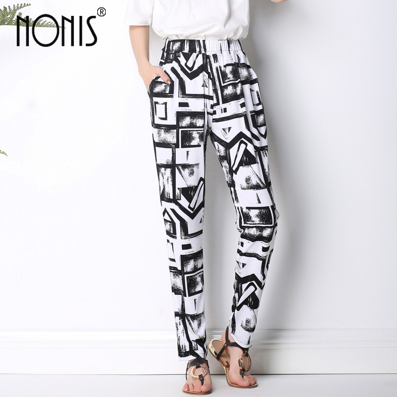 Nonis 2017 Summer New Arrival Women long harem Trousers variety of Geometric casual loose pant plus size 1