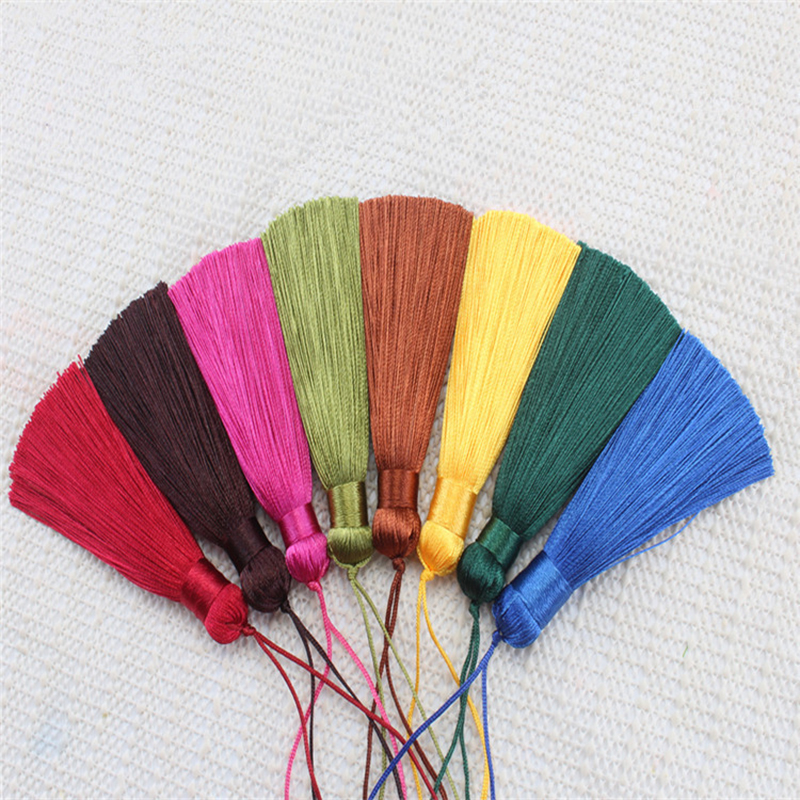 wholesale 12pcs lot 8cm short fat tassel silk fringe sewing bang tassel trim decorative key tassels for curtain home decoration in Tassel Fringe from Home Garden