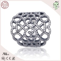 High Quality Popular Famous Brand Luxurious Summer Collection Big Size Wide 925 Authentic Silver Hollow Ring